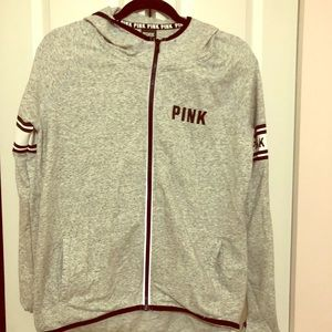 PINK size S high/low zip up Pink sweatshirt.